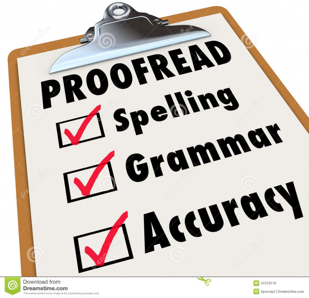 007 Proofread Clipboard Checklist Spelling Grammar