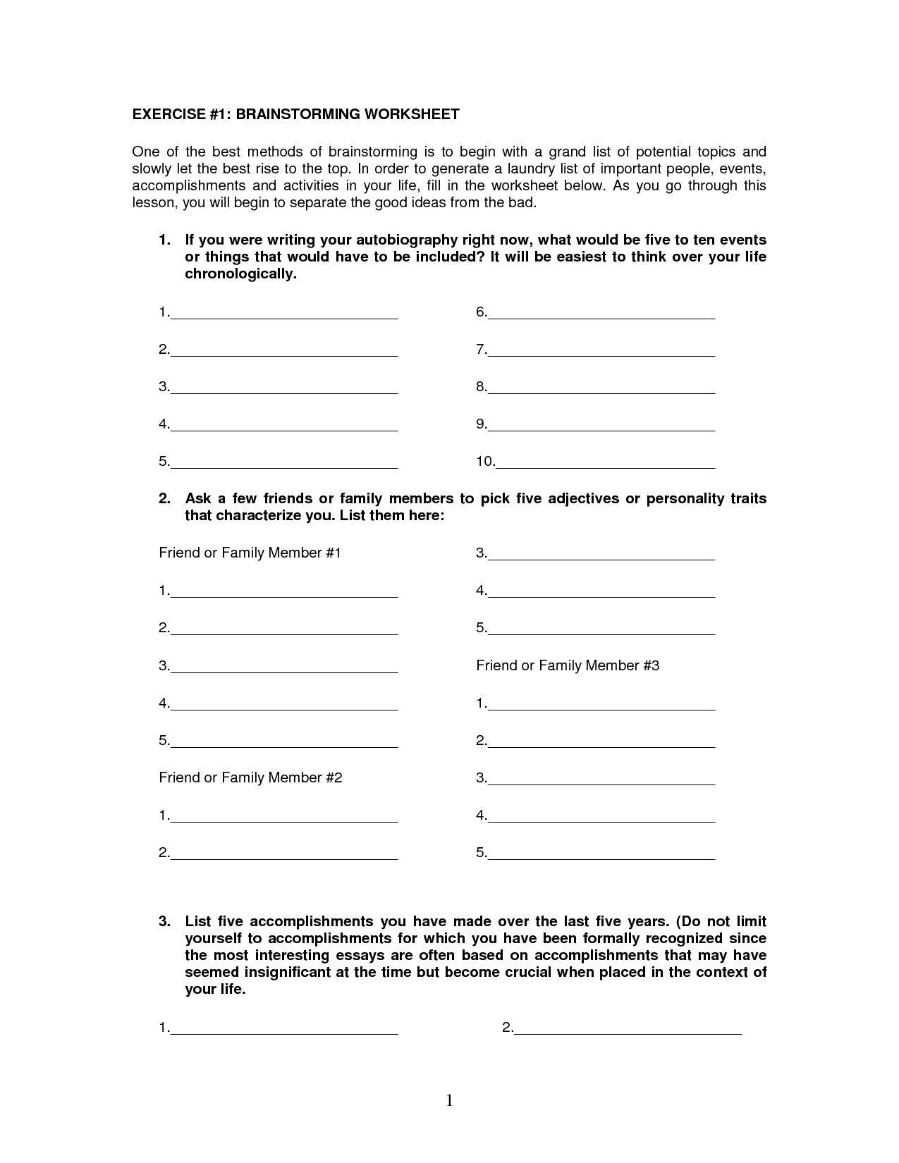College Essay Brainstorming Worksheet