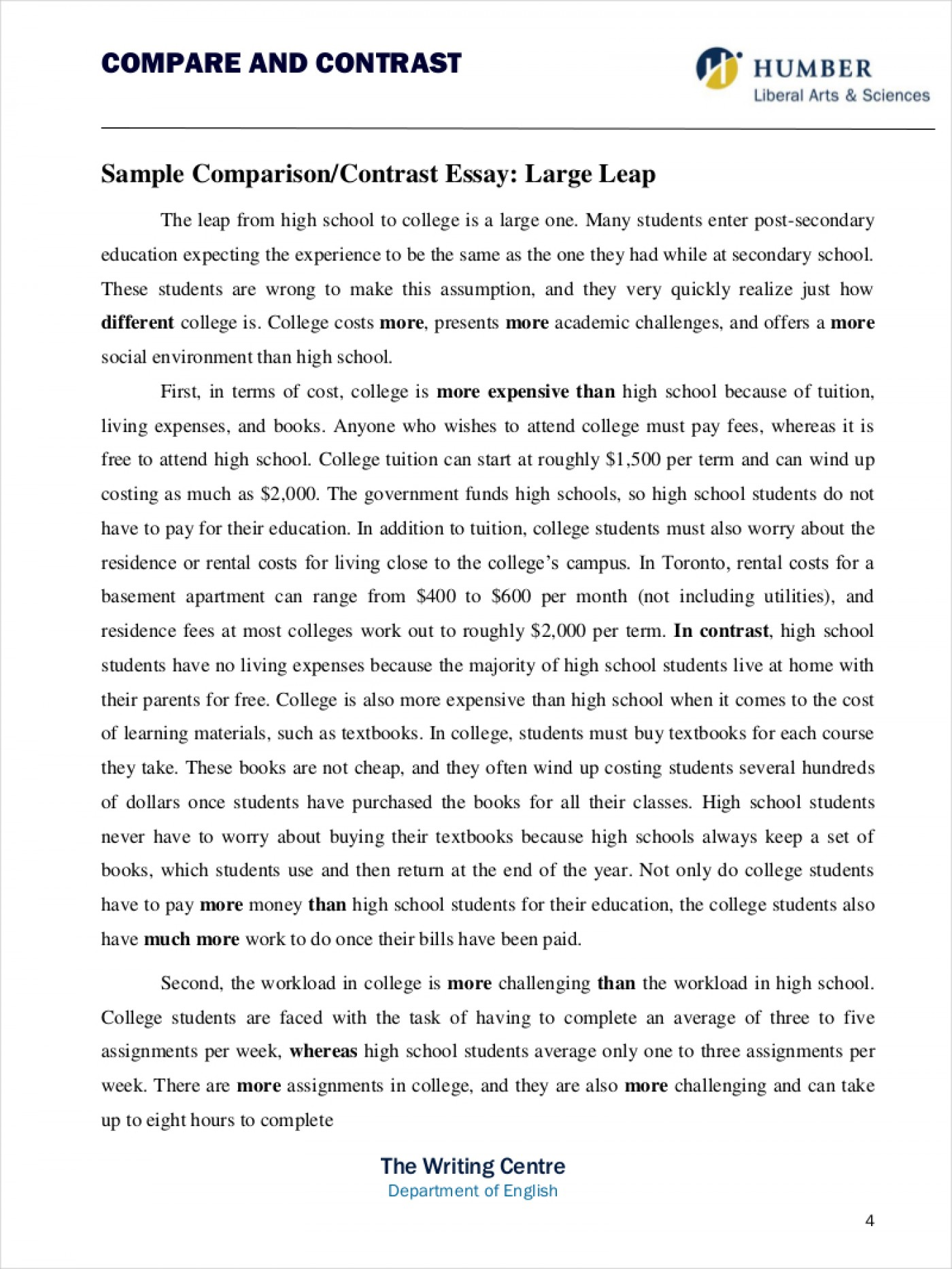 013 Essay Example Comparison And Contrast Thatsnotus