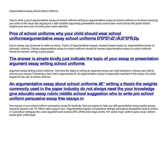 argumentative essay on school uniform should be abolished   essay example argumentative about school thatsnotus