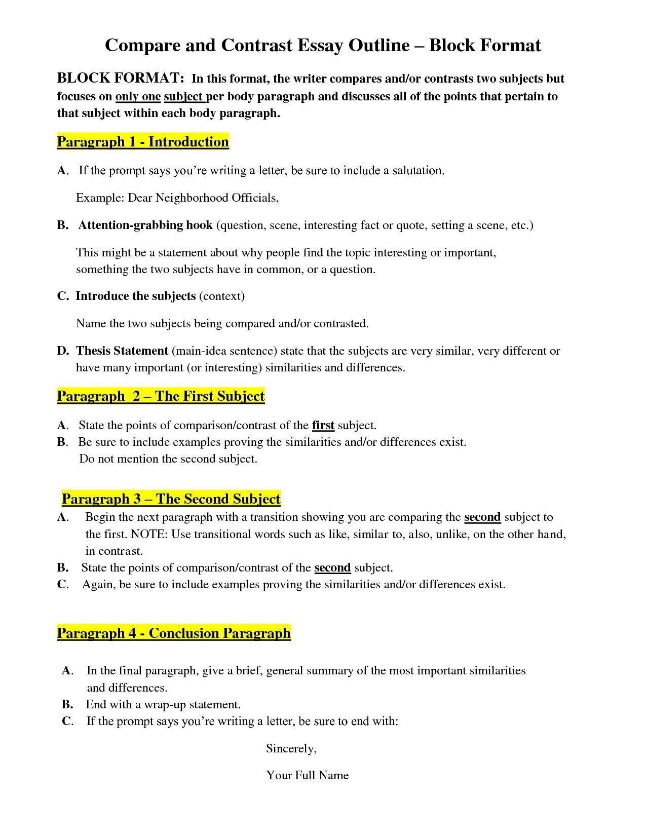 6th Grade Essay Examples Compare And Contrast
