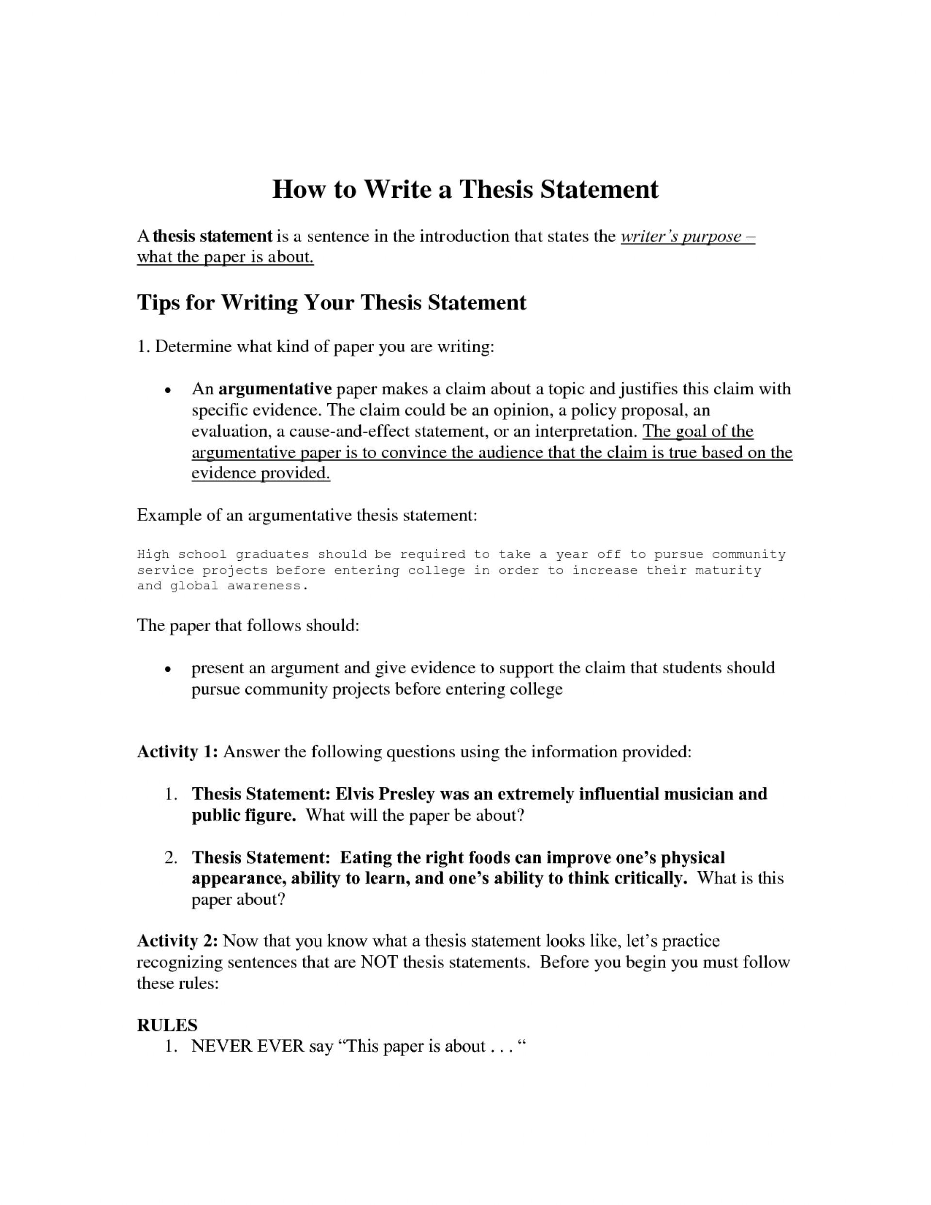 High School Thesis Statement Worksheet