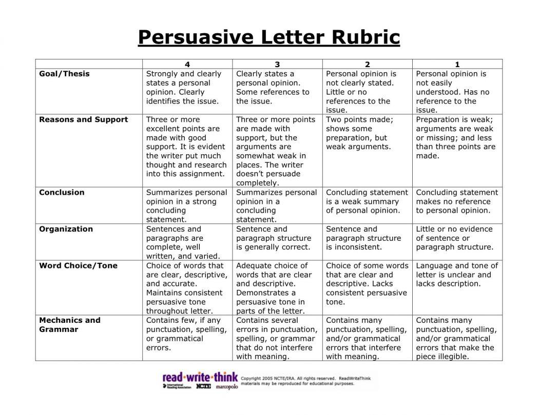 Persuasive Letter Rubric Grade 4