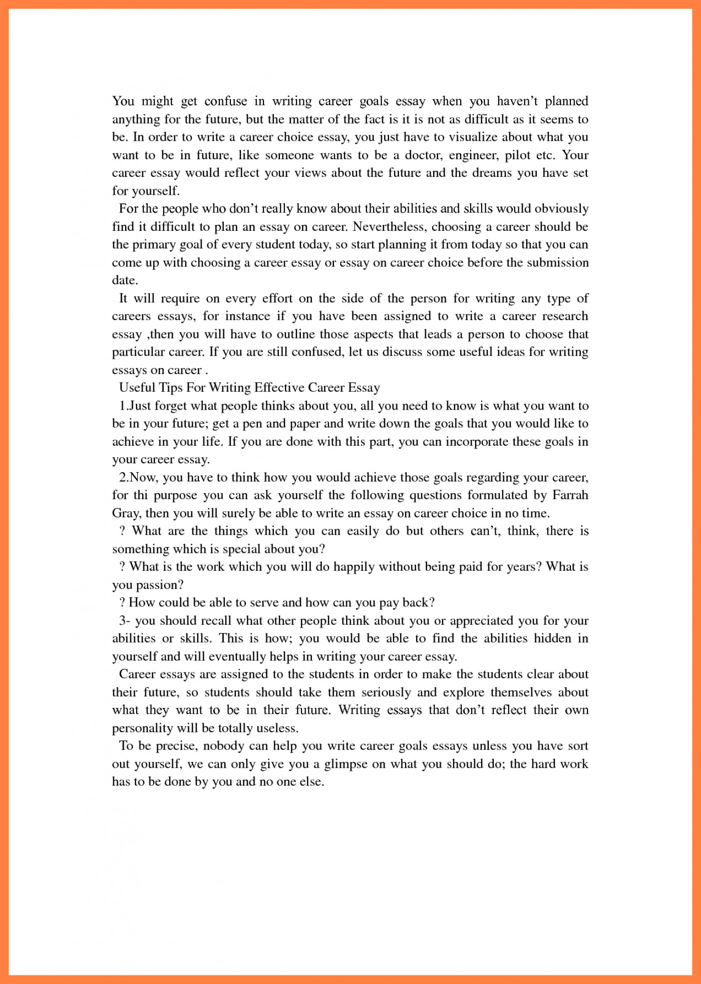 019 Essay Example Short Term And Long Goals Career