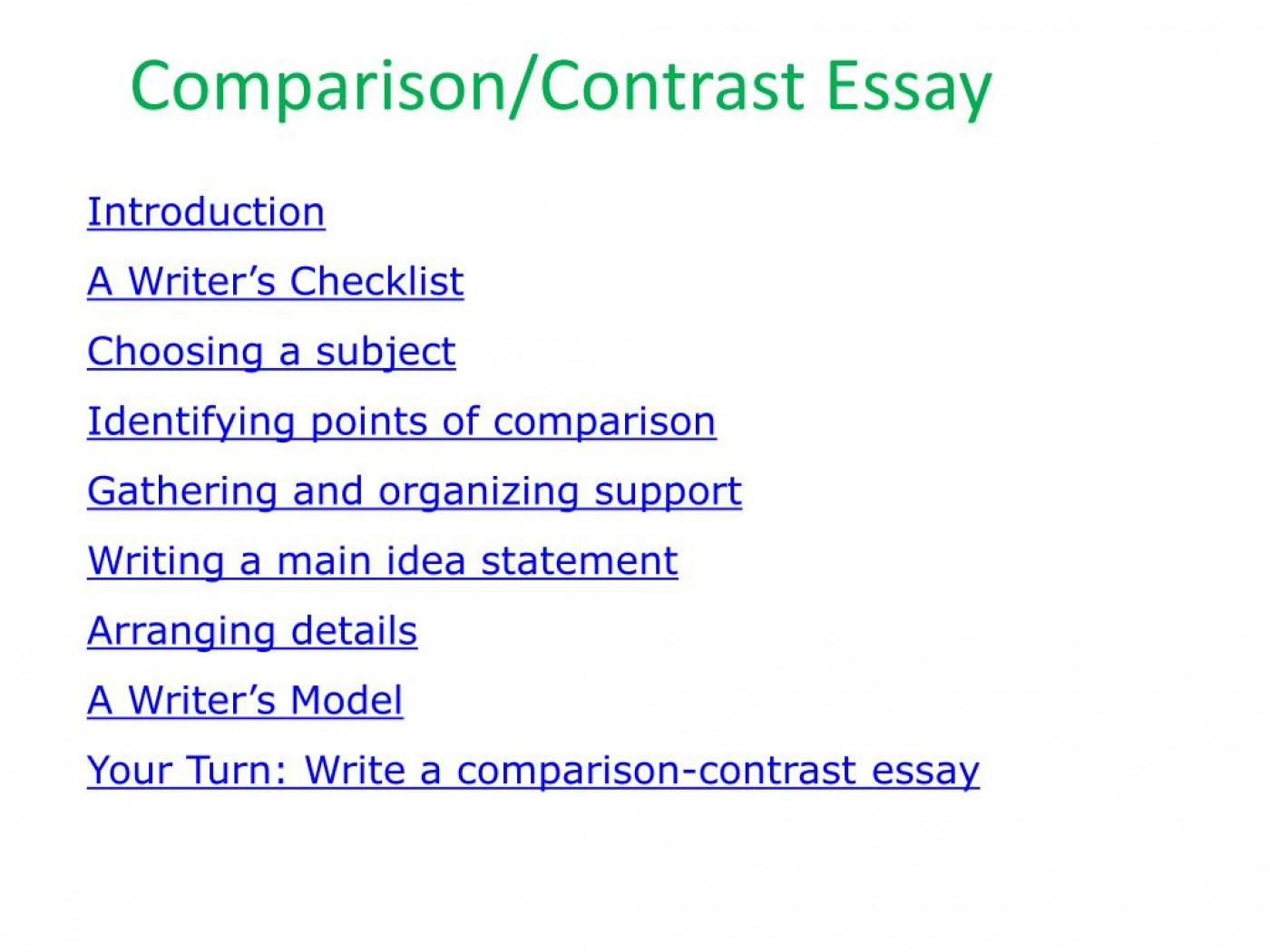 005 Essay Example An Of Compare And Contrast Comparison