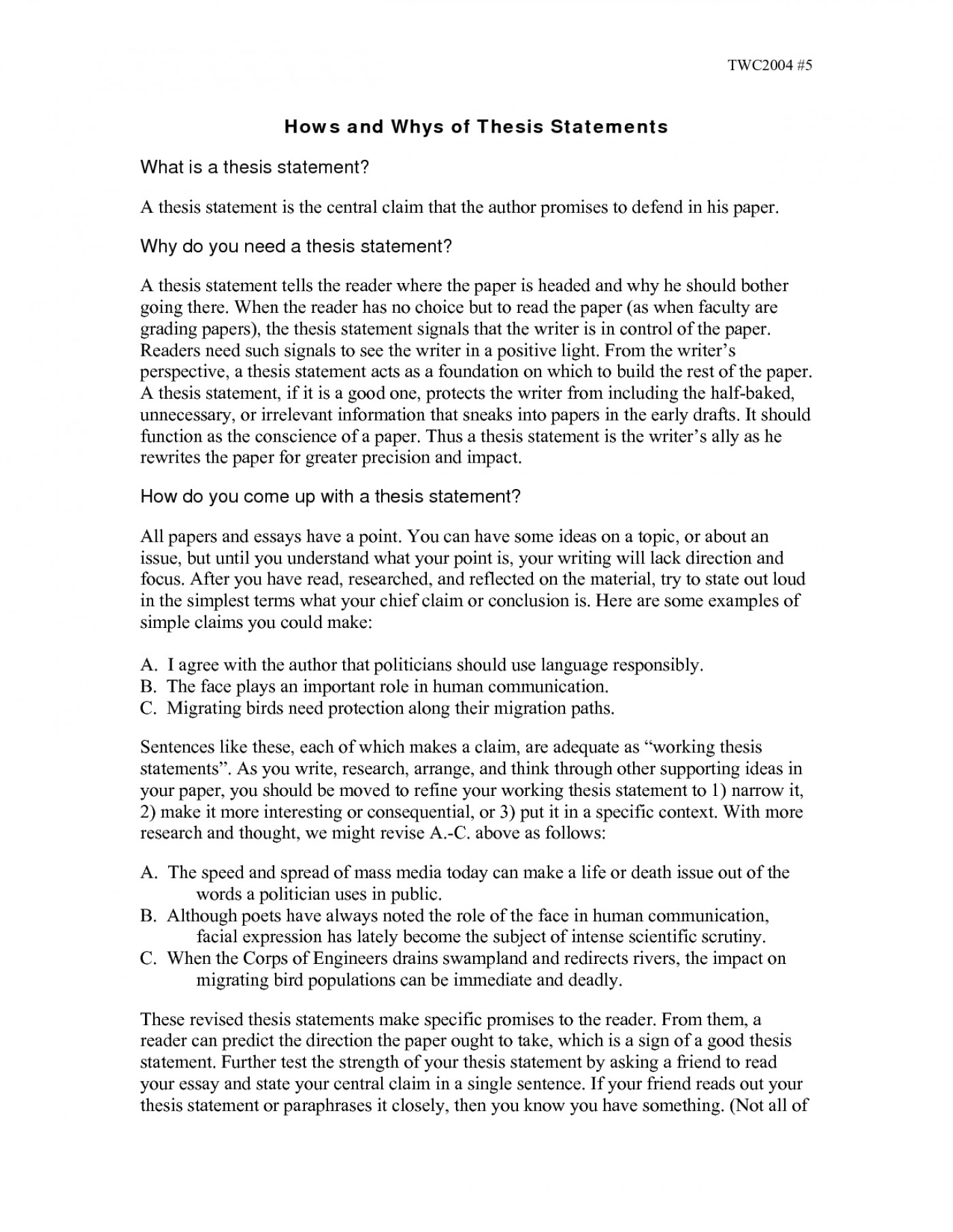 Thesis Statement Worksheet High School
