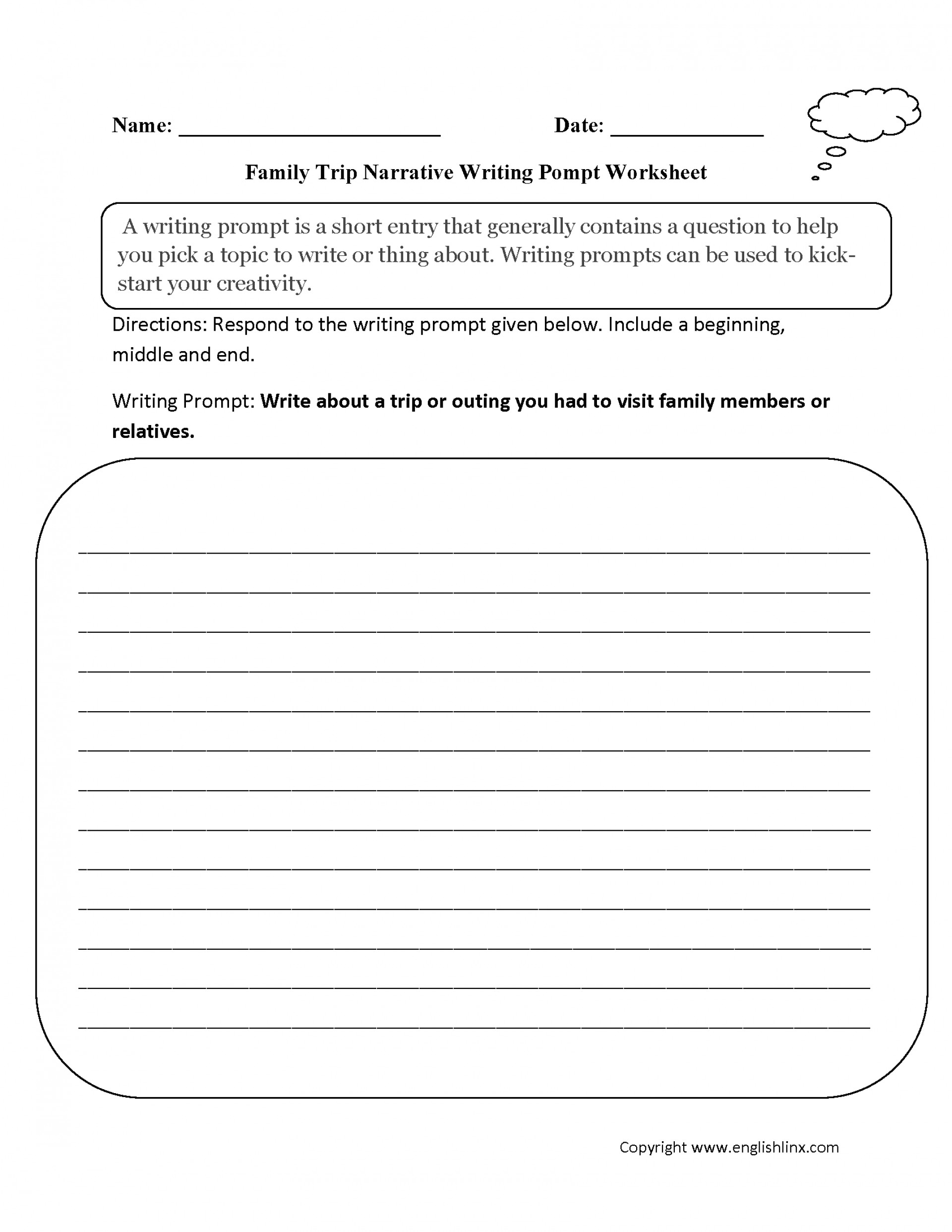 019 Family Trip Narrative Writing Prompt Worksheet 5th