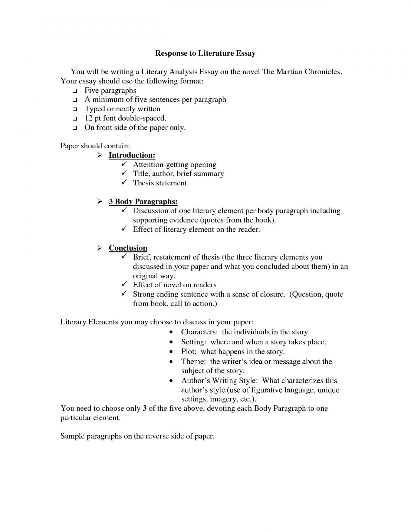 Literaryysis Essay Example High School