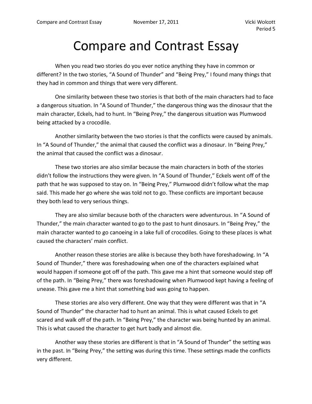 006 Compare Contrast Essay Outline Example Thatsnotus