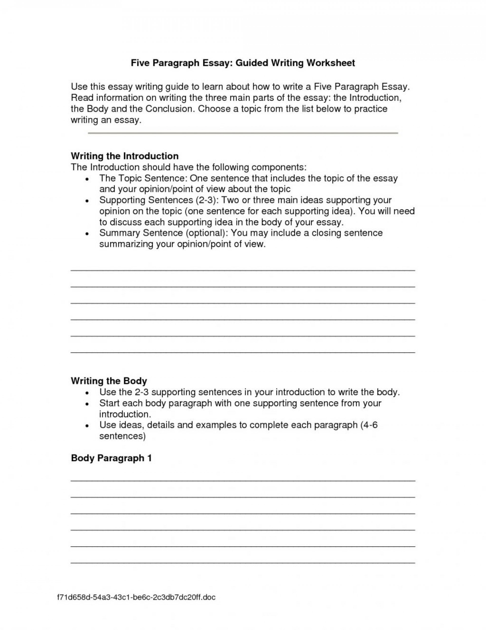 001 Essay Writing Worksheets Four Paragraph Lines Thatsnotus