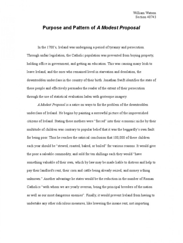 A Modest Proposal Essay Topics A Modest Proposal Ideas For Essays