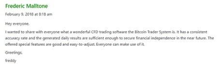 personnes dans les commentaires louant les résultats de Bitcoin Trader