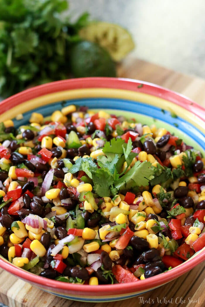 Bowl of non-tomato based salsa - Corn & Black bean Salas