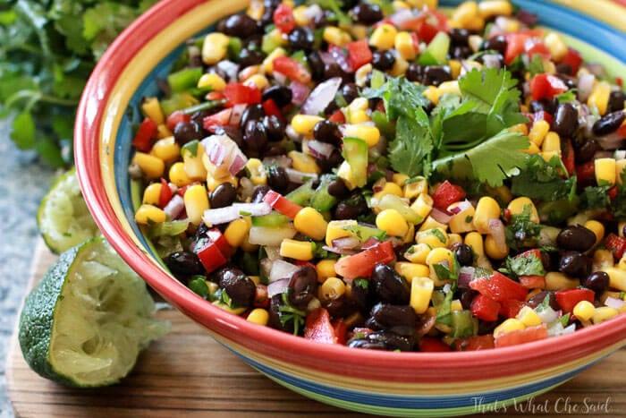 Horizontal shot of full bowl of Corn & Black Bean Salsa