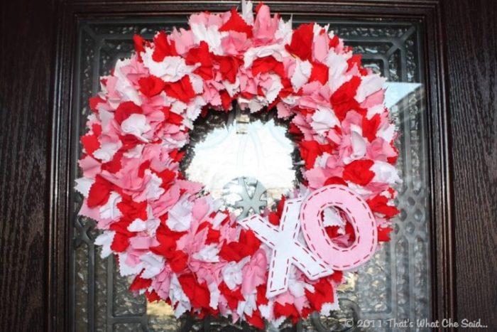 Easy Valentine's Day Wreath Using Scraps of Fabric.