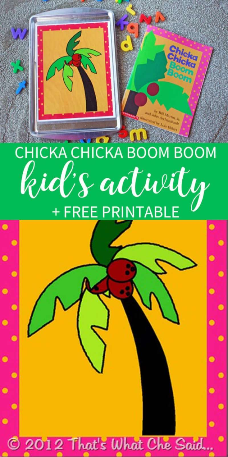 Free Printable of Chicka Chicka Boom Boom Tree for fun kid's activity