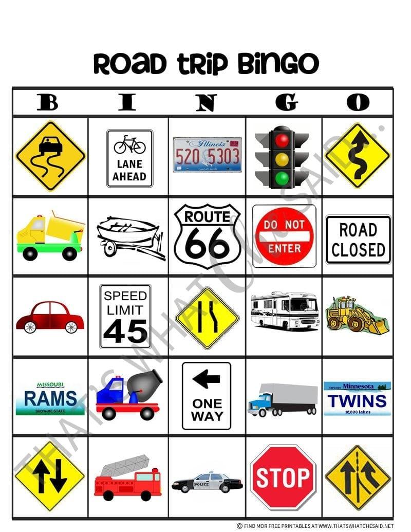 Road Trip Bingo Card Free Printable