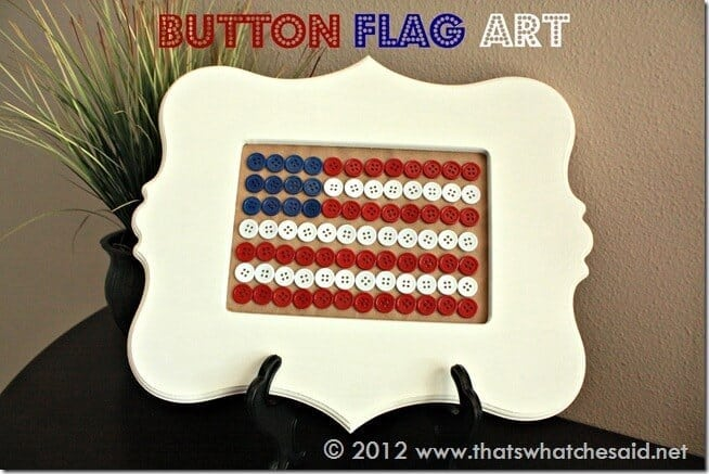 Button Flag Art in Frame