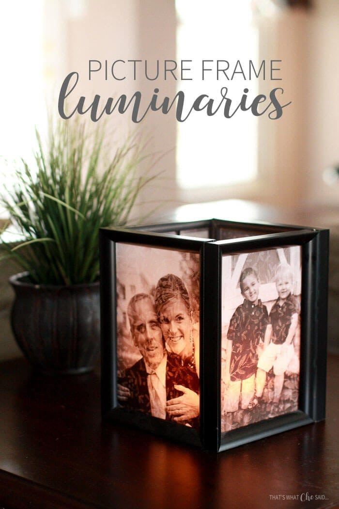 Picture Frame Luminary tutorial.  Finished luminary on end table