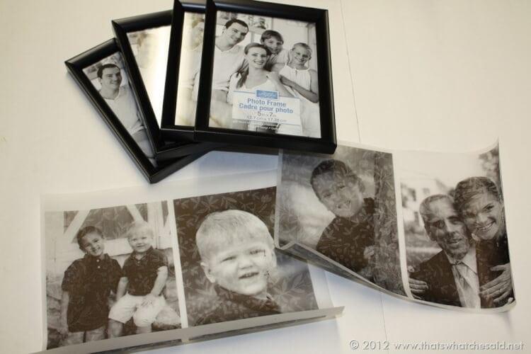 Photo frames, vellum photos and hot glue supplies