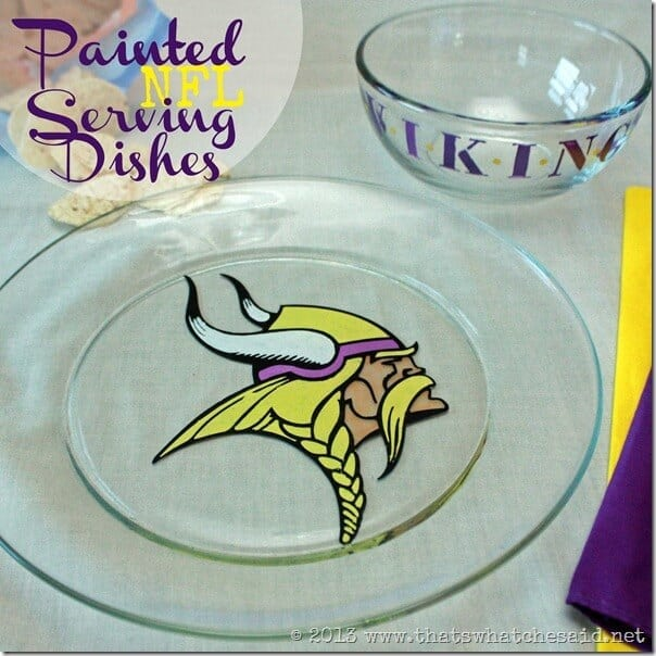 Painted NFL Serving Dish at www.thatswhatchesaid.com