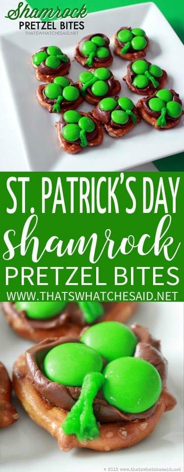 St Patrick's Day Shamrock Pretzel Bites Recipe