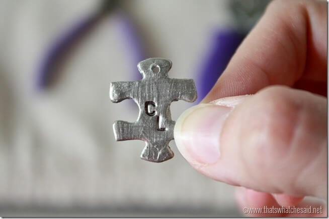 Stamped Puzzle PIece Charm at thatswhatchesaid.net