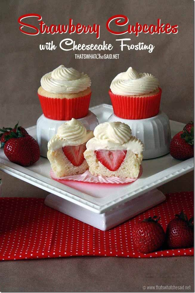 Strawberry Cupcakes with Cheesecake Frosting at thatswhatchesaid