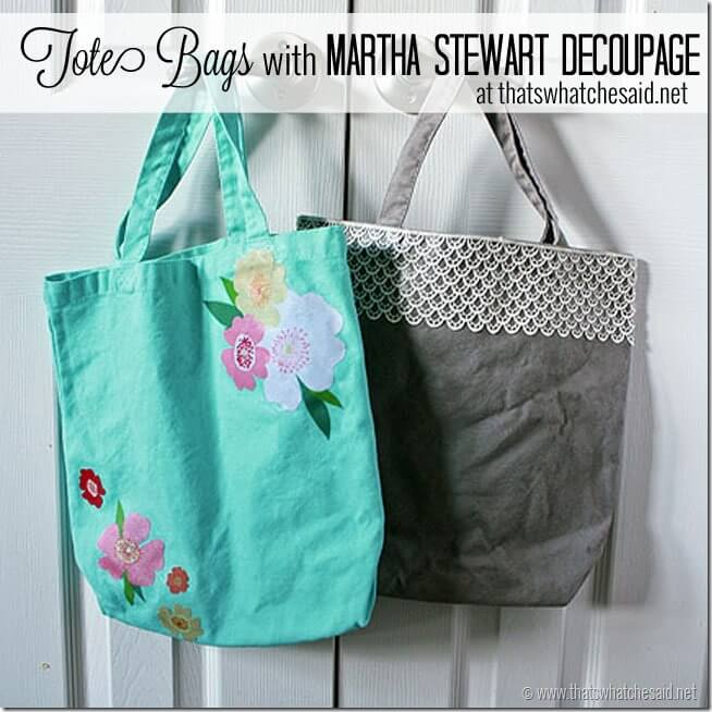 Tote Bags with Martha Stewart Decoupage