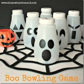 Upcycle milk jugs into a spooky ghost boo bowling game for kids