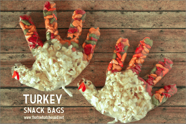 Turkey Thanksgiving Snack Bags at thatswhatchesaid.net Thanksgiving Kids Activity