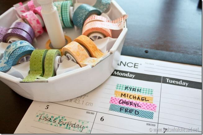 Organize with Washi Tape at thatswhatchesaid.net