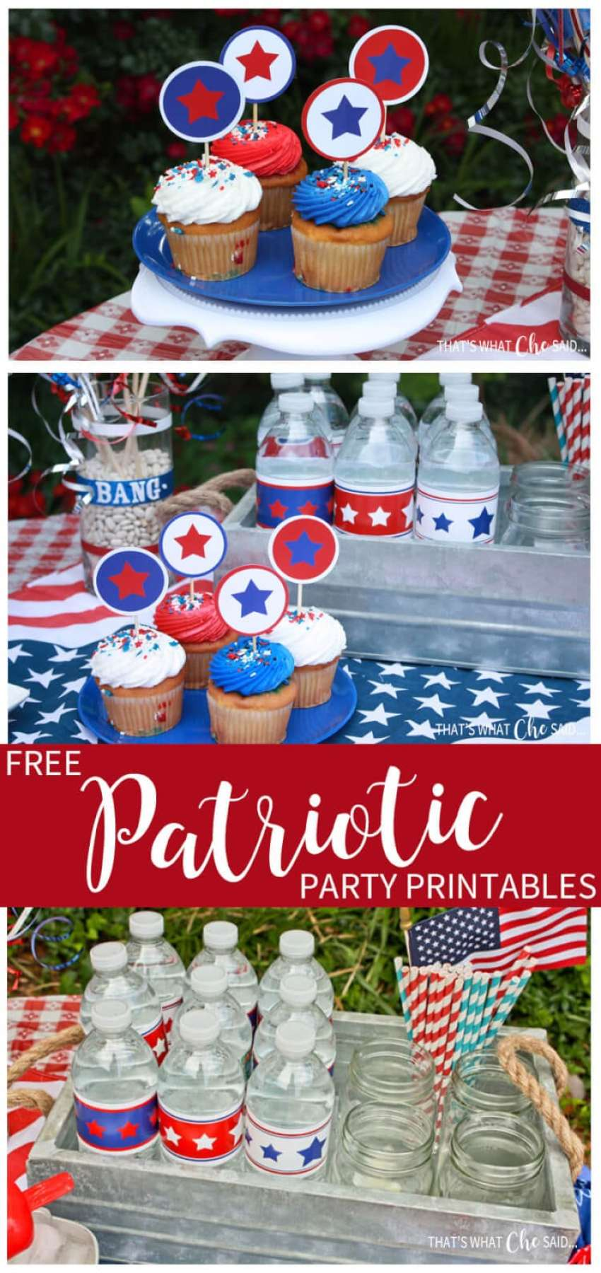 Free Patriotic Party Printables -- Perfect for Memorial Day, 4th of July and Labor Day festivities!