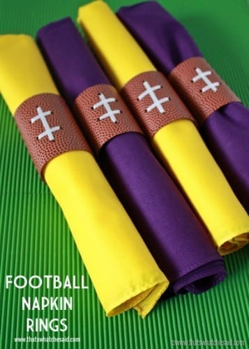 DIY Football Napkin Rings at www.thatswhatchesaid.com