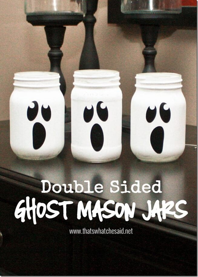 Double Sided Black and White Ghost Mason Jars