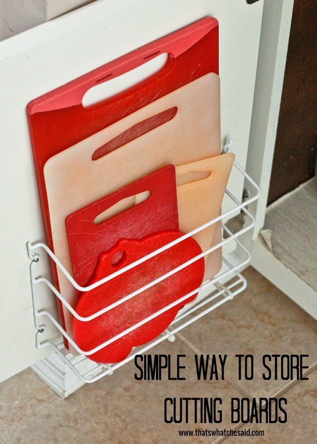 Cutting Board Storage Idea at thatswhatchesaid.com