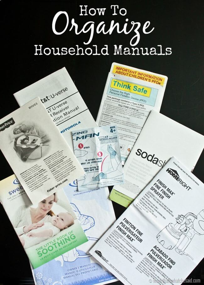 How to Organize Household Manuals at thatswhatchesaid.com