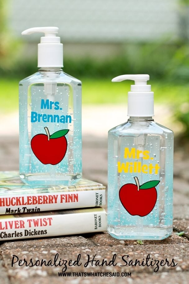 Personalized Hand Sanitizer Teacher Gift at thatswhatchesaid.com