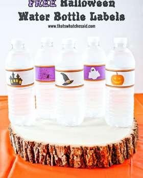 Water bottles with DIY Printble Halloween Labels