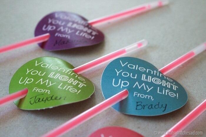 Glow Stick Valentine Free Printable - Non Candy Valentine Idea