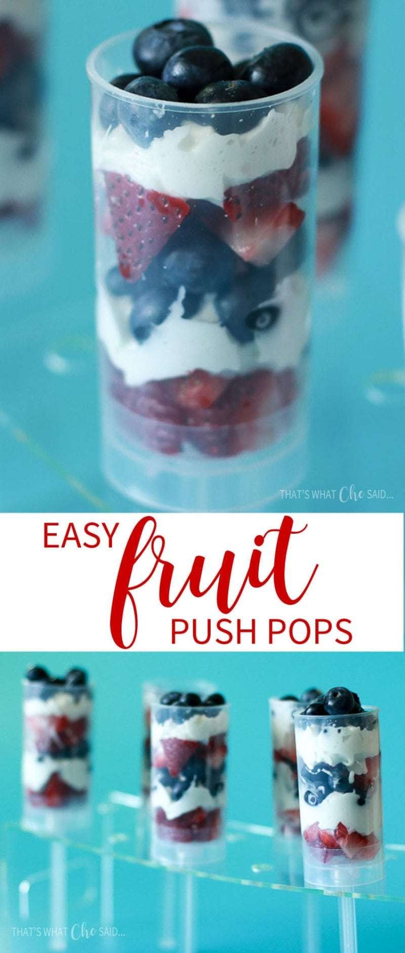 Make red white and blue fruit push up pops for the 4th of July