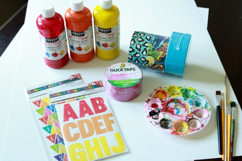 Artwork Keeper supplies - paint, paint brushes, duck tapes, stickers