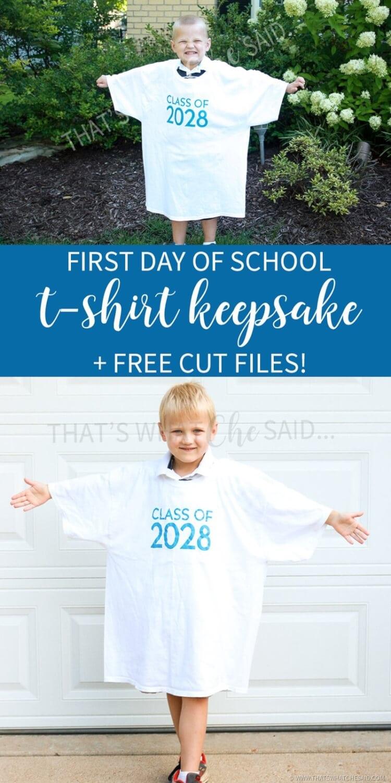 First Day of School Keepsake Tshirt Free Cut File