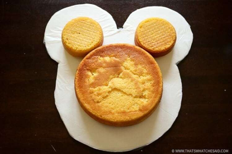 Layer 1 of Mickey Mouse Cake