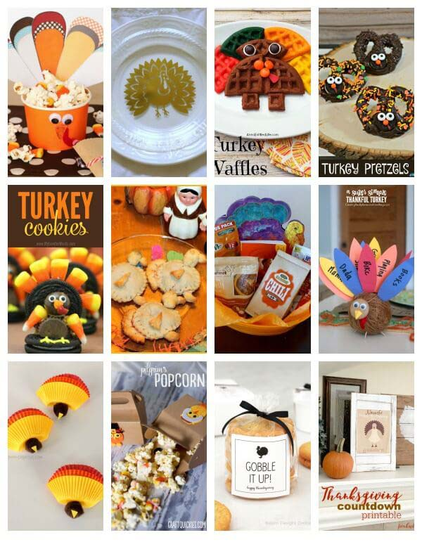 Collage of various Turkey Thanksgiving Crafts