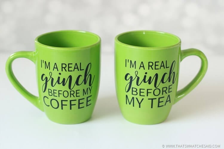 """two lime green mugs with a grinch face in adhesive vinyl and sayings """"grinch before coffee"""" or Grinch before tea"""""""