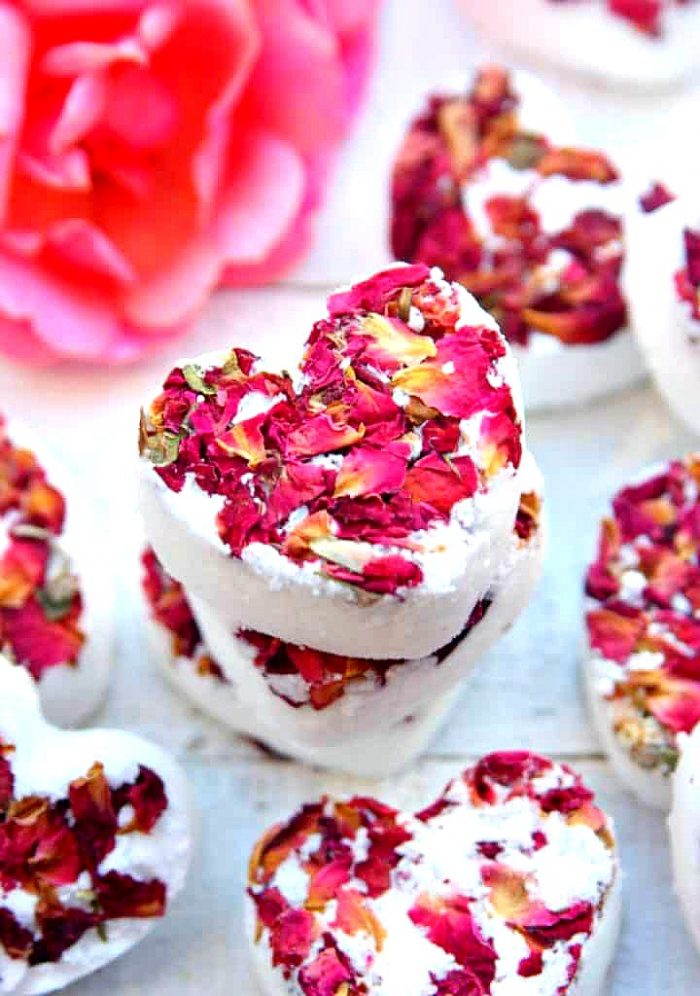 Heart shaped bath bombs with rose petals