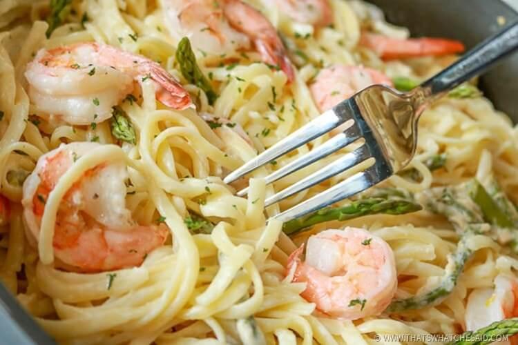 Shrimp Pasta Recipe with Garlic Wine Butter Sauce