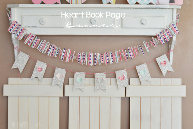 bunting banner made of book pages with heart accents