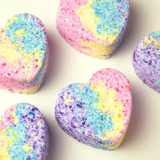 Heart shaped bath bombs in rainbow colors